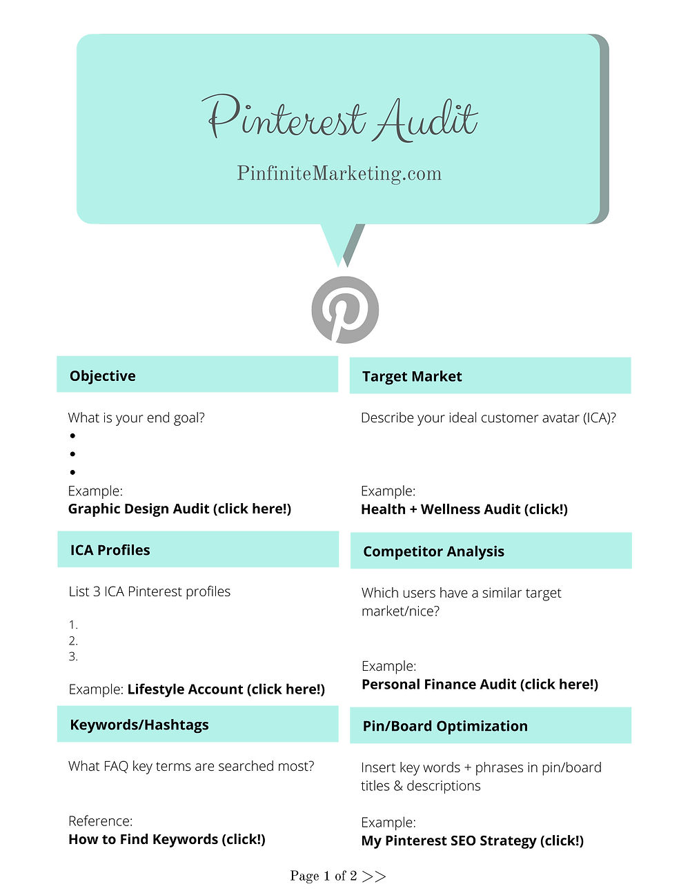 Free Audit: Pinterest Marketing Template + Resources