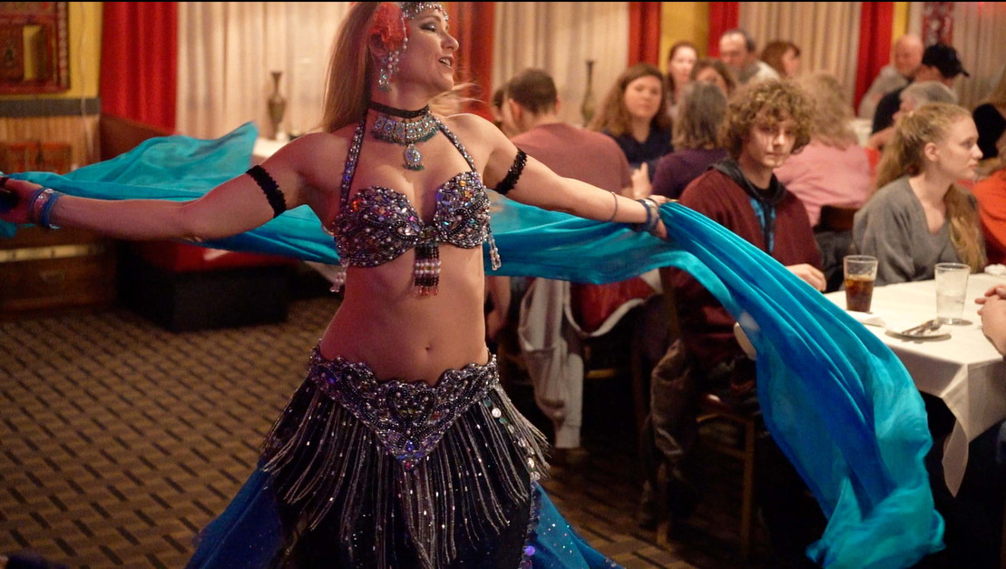 Belly Dancer Jensuya with Veil at Alfredo's Charles Town, WV