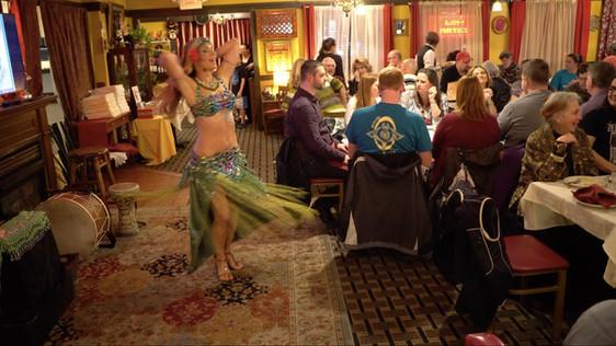 Professional Belly Dancer Jensuya Performing at Restaurant