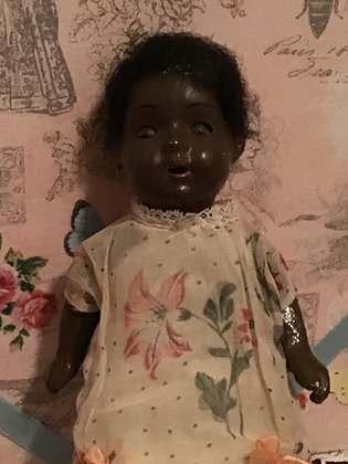 Black Painted Bisque Head Doll