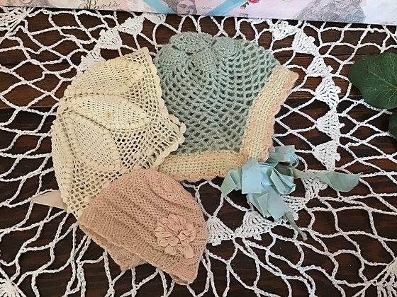 Three lovely vintage bonnets