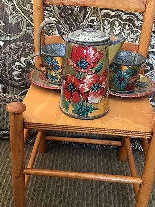 German painted tin tea set