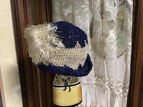 Pretty blue/ cream hat