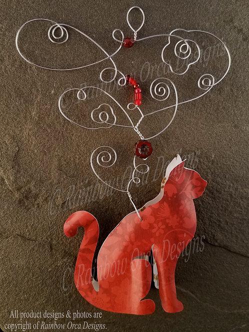 Cat Ornament Sculpture - Red Batique