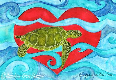 reduced Sea Turtle Swimming in Love 4.5x