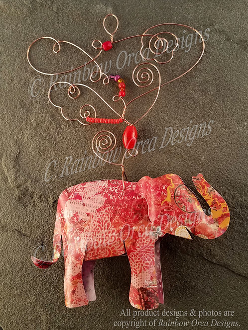 Asian Elephant Ornament Sculpture - Vintage Collage in Red Tones