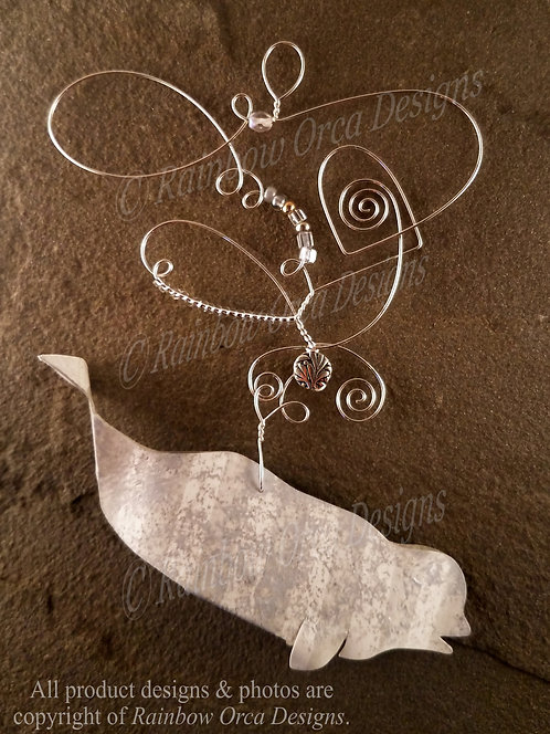 Beluga Ornament Sculpture - Soft Gray Sponged