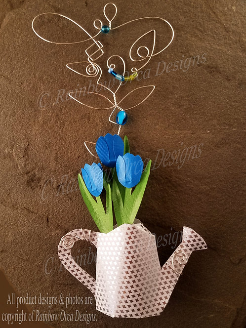 Blue Tulips in Watering Can Ornament Sculpture