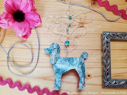 Dog: Poodle Ornament Sculpture - Soft Blue Vintage