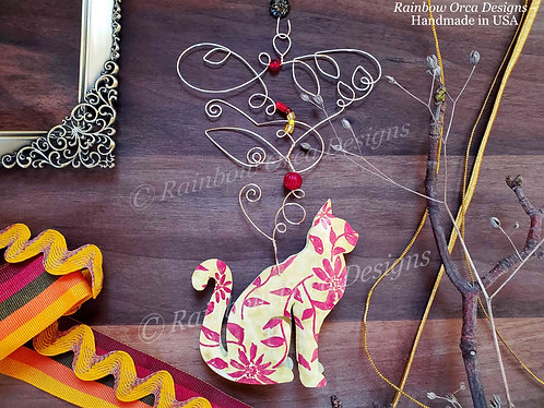 Cat Ornament Sculpture -Yellow & Red Floral Sketch