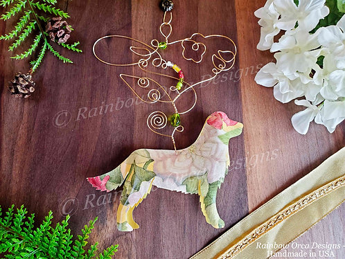Dog: Golden Retriever Ornament Sculpture - Sparkling Floral