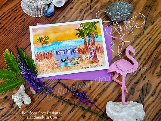 Away at the Beach Card & Flamingo Sculpt