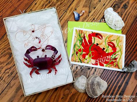 Crab Sculpture & Red Crab Card Flat Lay.
