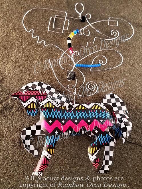Horse Ornament Sculpture - Geometric & Checkered