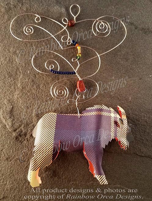 Mountain Goat Ornament Sculpture - Plaid