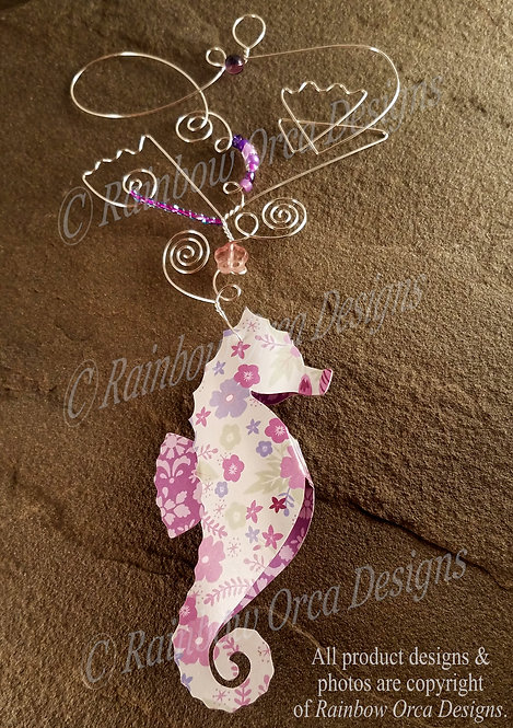 Seahorse Ornament Sculpture - Purple Floral