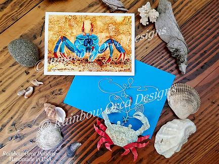 Blue Sand Crab and Crab Sculpture Flat L