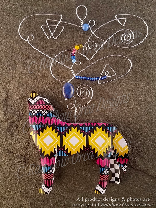 Wolf Ornament Sculpture - Geometric & Checkered