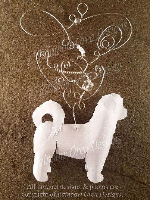 Dog: Shih Tzu Ornament Sculpture - White