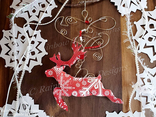 Reindeer Leaping Ornament Sculpture - Red with White Snowflakes