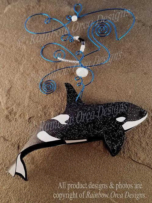 Orca Male Ornament Sculpture - Blue Wire