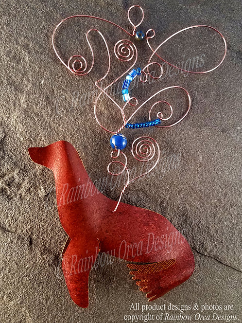 Sea Lion Ornament Sculpture - Natural