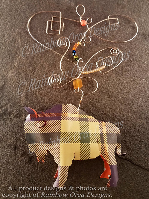 Bison Ornament Sculpture - Plaid