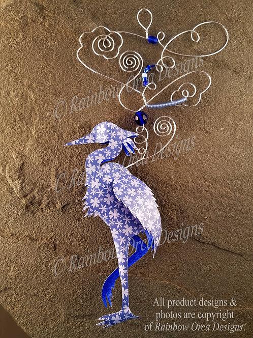 Heron Ornament Sculpture - Blue Floral