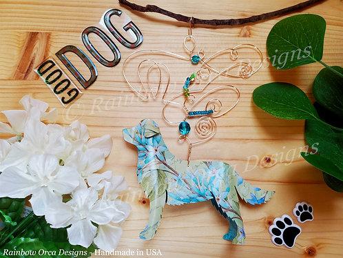Dog: Golden Retriever Ornament Sculpture - Blue Floral