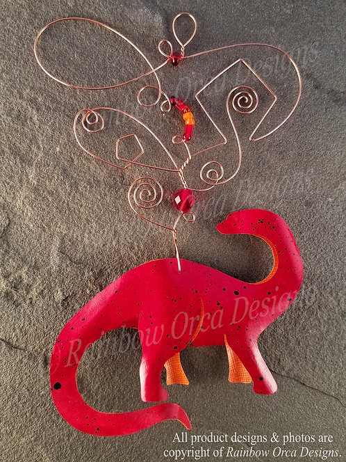 Brontosaurus Ornament Sculpture - Red with Black Speckles