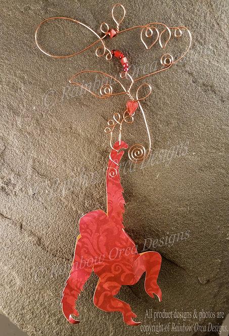 Orangutan Ornament Sculpture - Red Batique