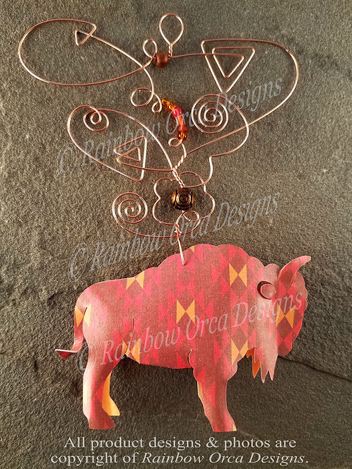 Bison Ornament Sculpture - Navajo Inspired Pattern