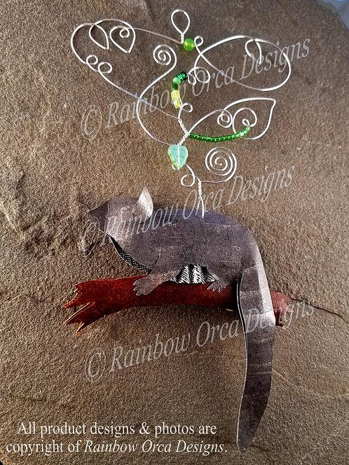 Sugar Glider Ornament Sculpture - Gray w/Nature
