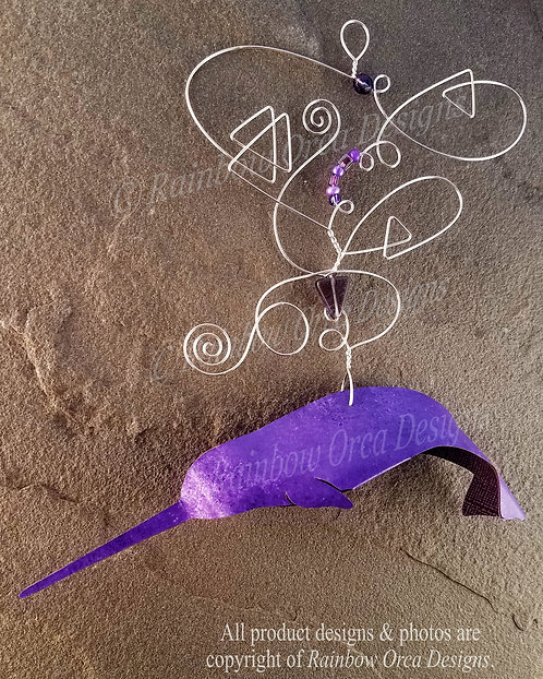Narwhal Ornament Sculpture - Purple