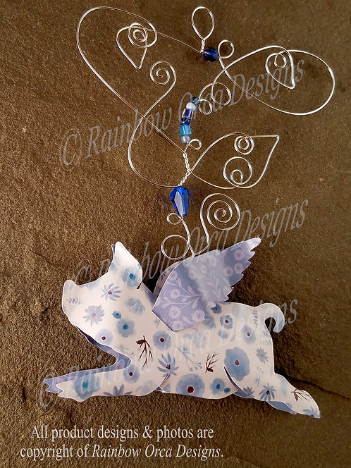 Flying Pig Ornament Sculpture - White with Blue Flowers
