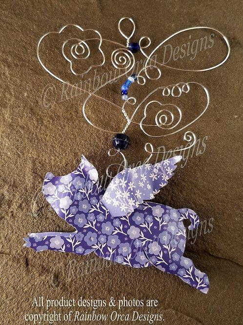 Flying Pig Ornament Sculpture - Blue Floral Design