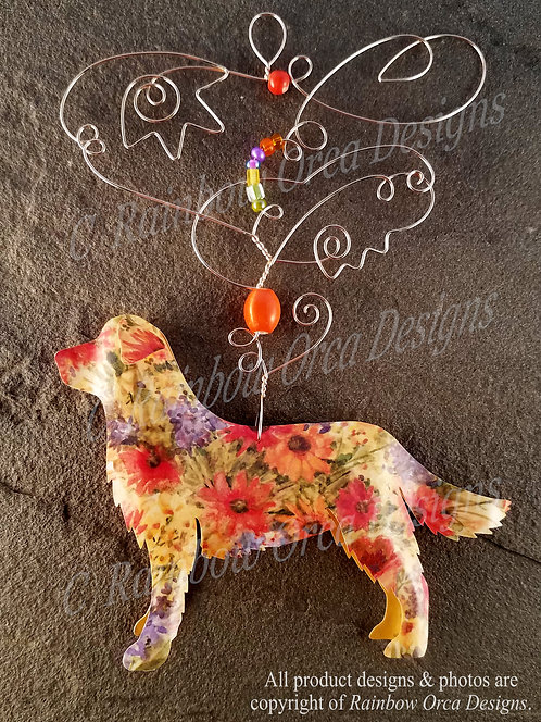 Dog: Golden Retriever Ornament Sculpture - Floral Meadow