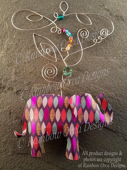 Asian Elephant Ornament Sculpture - Colorful Gypsy Leaves