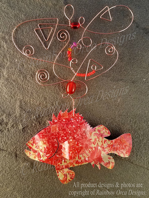 Rockfish Ornament Sculpture - Red Mottled Vintage