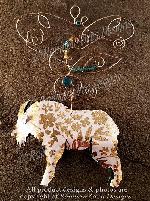 Mountain Goat Ornament Sculpture - Gold Leaf