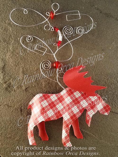 Moose Ornament Sculpture - Red Plaid