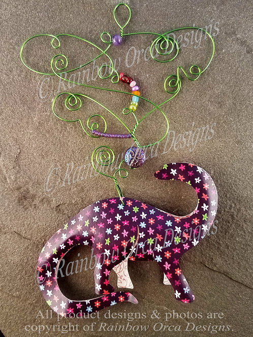 Brontosaurus Ornament Sculpture - Mini Floral