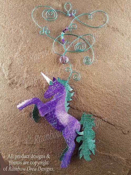 Unicorn Ornament Sculpture - Purple & Aqua