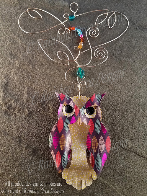 Owl Ornament Sculpture - Colorful Gypsy Leaves