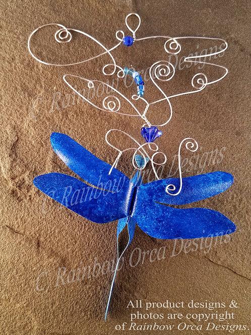 Dragonfly Ornament Sculpture - Cobalt Blue
