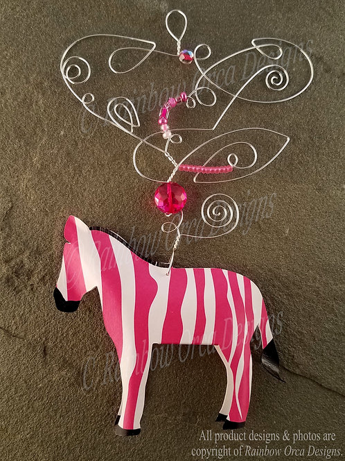 Zebra Ornament Sculpture - Hot Pink