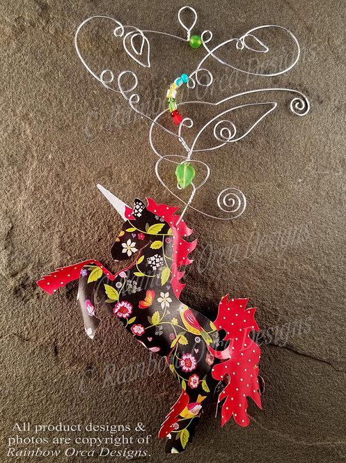 Unicorn Ornament Sculpture - Dynamic Floral