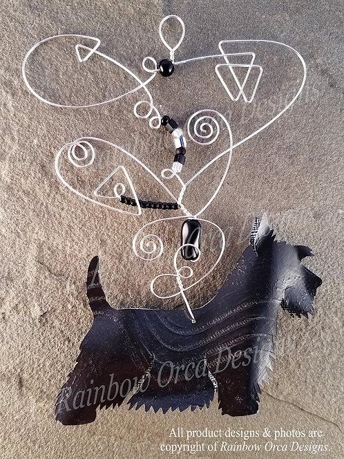 Dog: Scottie Ornament Sculpture - Hand-painted Black Texture