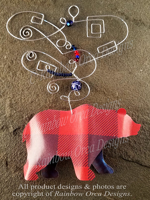 Bear Ornament Sculpture - Red & Blue Plaid
