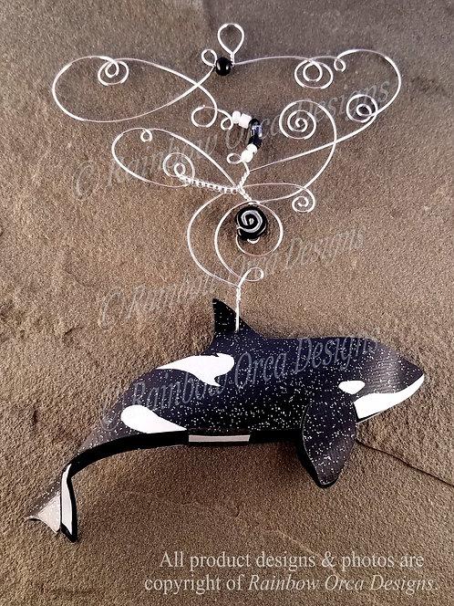 Orca Female Ornament Sculpture - B/W Silver Wire